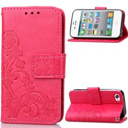 Embossing Imprint Four-Leaf Clover Leather Wallet Case for iPhone 4s 4 - Rose