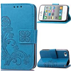 Embossing Imprint Four-Leaf Clover Leather Wallet Case for iPhone 4s 4 - Blue
