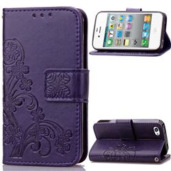 Embossing Imprint Four-Leaf Clover Leather Wallet Case for iPhone 4s 4 - Purple