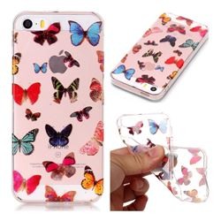 Colorful Butterfly Super Clear Soft TPU Back Cover for iPhone SE 5s 5