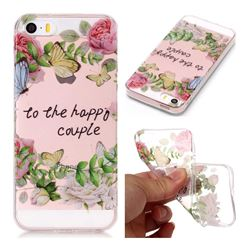 Green Leaf Rose Super Clear Soft TPU Back Cover for iPhone SE 5s 5