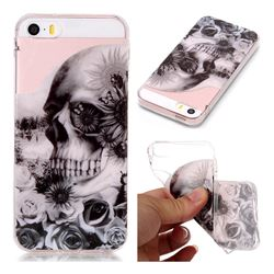 Black Flower Skull Super Clear Soft TPU Back Cover for iPhone SE 5s 5