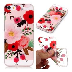 Painting Flowers Super Clear Soft TPU Back Cover for iPhone SE 5s 5