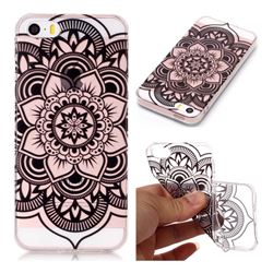 Black Mandala Flower Super Clear Soft TPU Back Cover for iPhone SE 5s 5