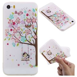 Tree and Girl 3D Relief Matte Soft TPU Back Cover for iPhone SE 5s 5