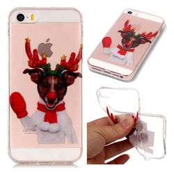 Red Gloves Elk Super Clear Soft TPU Back Cover for iPhone SE 5s 5