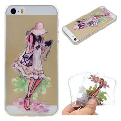 Travel Girl Super Clear Soft TPU Back Cover for iPhone SE 5s 5