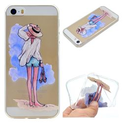 Beach Girl Super Clear Soft TPU Back Cover for iPhone SE 5s 5