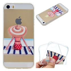 Beach Chair Girl Super Clear Soft TPU Back Cover for iPhone SE 5s 5