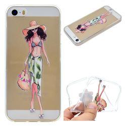 Bikini Girl Super Clear Soft TPU Back Cover for iPhone SE 5s 5
