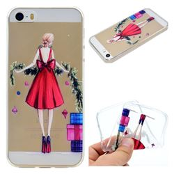 Christmas Girl Super Clear Soft TPU Back Cover for iPhone SE 5s 5