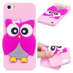 Pink Owl Soft 3D Silicone Case for iPhone SE 5s 5