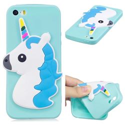 Blue Hair Unicorn Soft 3D Silicone Case for iPhone SE 5s 5