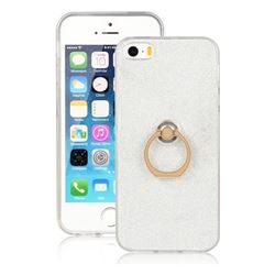 Luxury Soft TPU Glitter Back Ring Cover with 360 Rotate Finger Holder Buckle for iPhone SE 5s 5 - White