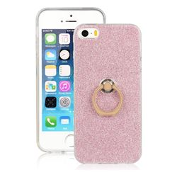 Luxury Soft TPU Glitter Back Ring Cover with 360 Rotate Finger Holder Buckle for iPhone SE 5s 5 - Pink