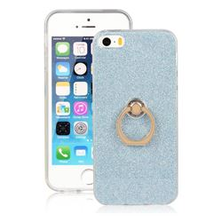 Luxury Soft TPU Glitter Back Ring Cover with 360 Rotate Finger Holder Buckle for iPhone SE 5s 5 - Blue