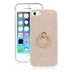 Luxury Soft TPU Glitter Back Ring Cover with 360 Rotate Finger Holder Buckle for iPhone SE 5s 5 - Golden