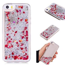 Glitter Sand Mirror Quicksand Dynamic Liquid Star TPU Case for iPhone SE 5s 5 - Red