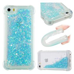 Dynamic Liquid Glitter Sand Quicksand TPU Case for iPhone SE 5s 5 - Silver Blue Star