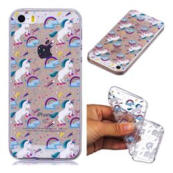 Rainbow Running Unicorn Super Clear Soft TPU Back Cover for iPhone SE 5s 5