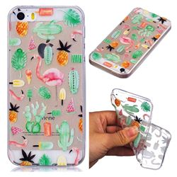 Cactus Flamingos Super Clear Soft TPU Back Cover for iPhone SE 5s 5