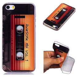 Retro Cassette Tape Super Clear Soft TPU Back Cover for iPhone SE 5s 5