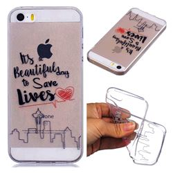 Line Castle Super Clear Soft TPU Back Cover for iPhone SE 5s 5