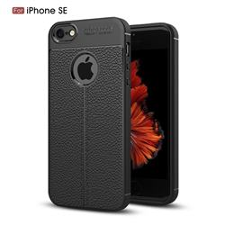 Luxury Auto Focus Litchi Texture Silicone TPU Back Cover for iPhone SE 5s 5 - Black