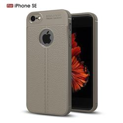 Luxury Auto Focus Litchi Texture Silicone TPU Back Cover for iPhone SE 5s 5 - Gray