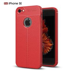 Luxury Auto Focus Litchi Texture Silicone TPU Back Cover for iPhone SE 5s 5 - Red