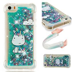 Tiny Unicorn Dynamic Liquid Glitter Sand Quicksand Star TPU Case for iPhone SE 5s 5