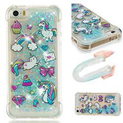 Fashion Unicorn Dynamic Liquid Glitter Sand Quicksand Star TPU Case for iPhone SE 5s 5