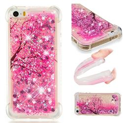 Pink Cherry Blossom Dynamic Liquid Glitter Sand Quicksand Star TPU Case for iPhone SE 5s 5