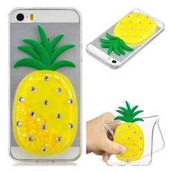 Yellow Pineapple Liquid Quicksand Soft 3D Cartoon Case for iPhone SE 5s 5