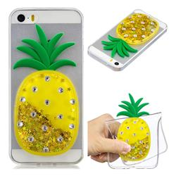 Gold Pineapple Liquid Quicksand Soft 3D Cartoon Case for iPhone SE 5s 5