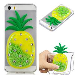 Green Pineapple Liquid Quicksand Soft 3D Cartoon Case for iPhone SE 5s 5