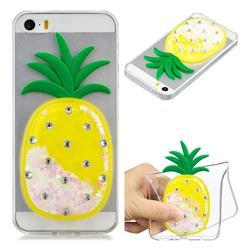 White Pineapple Liquid Quicksand Soft 3D Cartoon Case for iPhone SE 5s 5