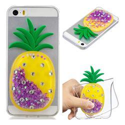 Purple Pineapple Liquid Quicksand Soft 3D Cartoon Case for iPhone SE 5s 5