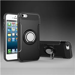 Armor Anti Drop Carbon PC + Silicon Invisible Ring Holder Phone Case for iPhone SE 5s 5 - Black