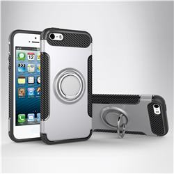 Armor Anti Drop Carbon PC + Silicon Invisible Ring Holder Phone Case for iPhone SE 5s 5 - Silver