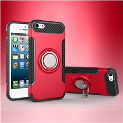 Armor Anti Drop Carbon PC + Silicon Invisible Ring Holder Phone Case for iPhone SE 5s 5 - Red