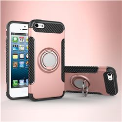 Armor Anti Drop Carbon PC + Silicon Invisible Ring Holder Phone Case for iPhone SE 5s 5 - Rose Gold