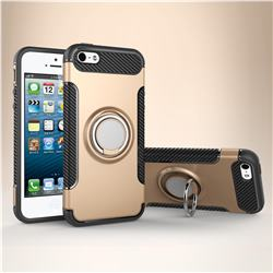 Armor Anti Drop Carbon PC + Silicon Invisible Ring Holder Phone Case for iPhone SE 5s 5 - Champagne