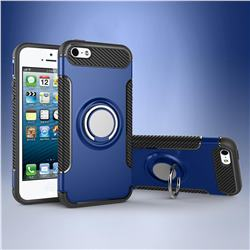 Armor Anti Drop Carbon PC + Silicon Invisible Ring Holder Phone Case for iPhone SE 5s 5 - Sapphire