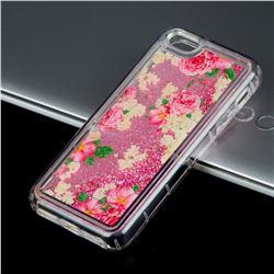 Rose Flower Glassy Glitter Quicksand Dynamic Liquid Soft Phone Case for iPhone SE 5s 5