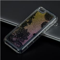 Diagonal Lace Glassy Glitter Quicksand Dynamic Liquid Soft Phone Case for iPhone SE 5s 5