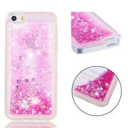Dynamic Liquid Glitter Quicksand Sequins TPU Phone Case for iPhone SE 5s 5 - Rose