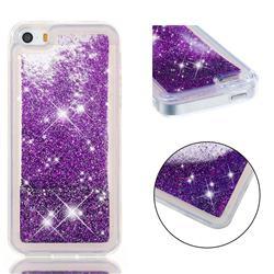 Dynamic Liquid Glitter Quicksand Sequins TPU Phone Case for iPhone SE 5s 5 - Purple