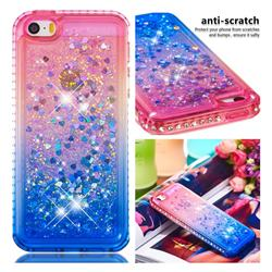 Diamond Frame Liquid Glitter Quicksand Sequins Phone Case for iPhone SE 5s 5 - Pink Blue