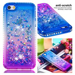 Diamond Frame Liquid Glitter Quicksand Sequins Phone Case for iPhone SE 5s 5 - Blue Purple